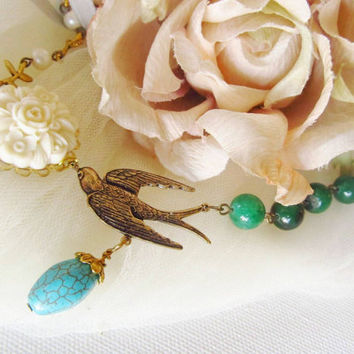 Antique Bronze Swallow with green beads & by 4TasteofShabbyChic