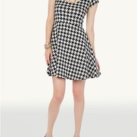 Houndstooth Zipper Back Scuba Dress