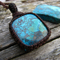 Azurite Necklace / Azurite / Azure Blue / Macrame Necklace / Healing Stones and Crystals / November gift idea / Hippie chic jewelry / Him