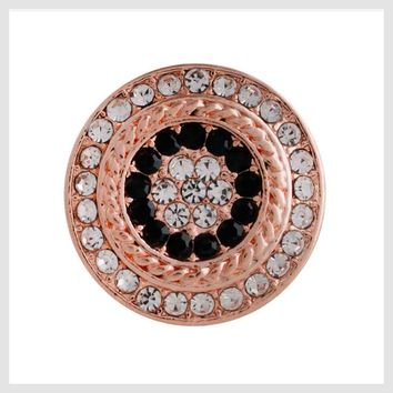 Rose Gold Black Clear Crystals 20mm 3/4