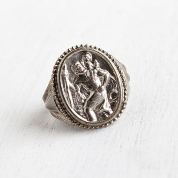 Vintage St. Christopher Ring - Retro Religious Silver Tone Adjustable Statement Costume Jewelry / Repoussé Saint