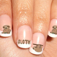 Sloth WaterSlide Water Slide  Nail Decal Paper Transfer Nail Art Rub On Nail Sticker
