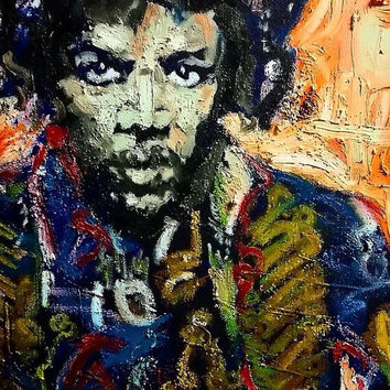 Colorful Pop Art Painting 16x20, Jimi Hendrix Art, Rock Art, Music Art, Canvas Art, Boho Chic Decor, Urban Art