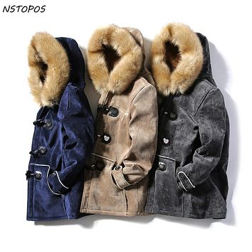Suede Parka Mens Fur Parka With Hoodie Horn Buckle Couples Lover Winter Jacket Men And Women Parka Homme Navy Grey Khaki Parka