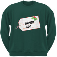 To Women From God Christmas Tag Forest Green Adult Sweatshirt