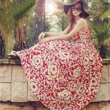 Women Summer Chiffon Boho Beach Maxi Dress Sleeveless Pleated Loose Sundress D_L = 1946144260