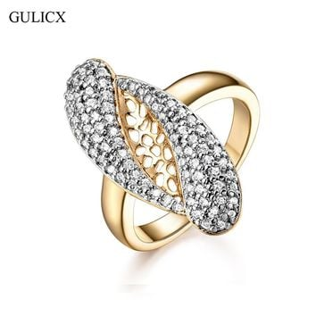 GULICX Exaggerate New Fashion Female Wedding Bands Jewelry Gold-Color Engagement Ring for Women CZ Stone Paved Promise Rings