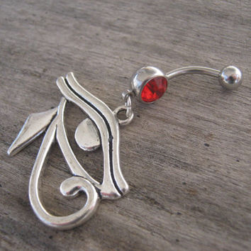 Eye of Horus Belly Ring, Eye Of Ra Belly Button Ring, Egyptian Belly Piercing, Wadjet Inspired, Body Jewelry
