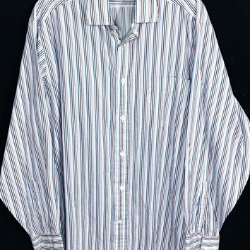 Faconnable Striped Blue Red Pink White Pocket Button Down Shirt Mens 4 / 16 L - Preowned