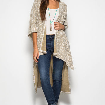 HALF SLEEVE TEXTURED MIDI CARDIGAN