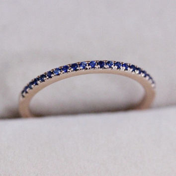 VS 0.21ct Blue Sapphire Wedding Band Pave 14K Rose Gold Ring Engagement Ring Wedding Ring Half Eternity Band Promise Ring