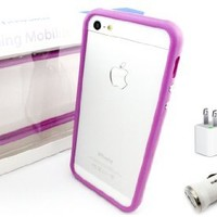 (iPhone 5 Combo Pack) MoblingTM Bumper Series Purple iPhone 5 Bumper Plus a Generic Lightning to USB Cable with Car Charger and Wall Adapter for iPhone 5