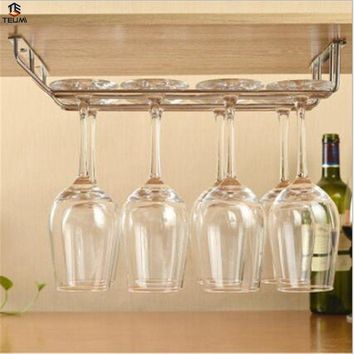 Wine Glass Cup Holder Stainless Steel  Kitchen Wall Mount Wine Rack Bar Hanger With Screws Red Wine Organizer Decorative Shelves