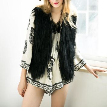New Hot Brand Winter Spring Women Vest Coats/vintage Faux Fur Vests For Women/elegant Casual Coats Women Clothing