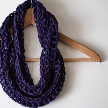 SALE Purple RIbbed Infinity Scarf-  chunky yarn circle scarf- winter weather wear- crocheted & handmade.