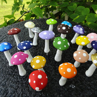 huge set of 54 miniature terrarium handmade mushrooms, you pick your colors free gifts included planter fairy garden
