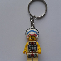 Indian Chief  minifigure keychain keyring  made with LEGO® bricks