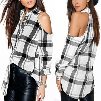 Womens Button Down Plaid Shirts Long Sleeve Off Shoulder Casual Tops T-Shirt Tee