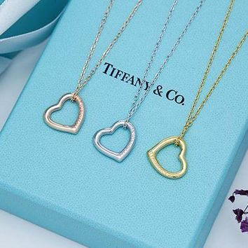 Tiffany trend fashion heart necklace 925 sterling silver high quality DCCK
