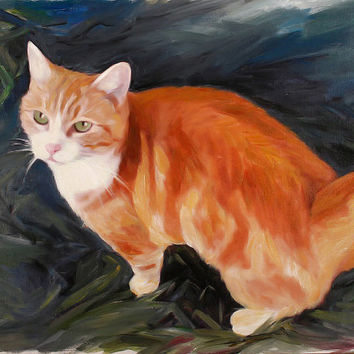 Cat Painting from Photo - Custom Pet Portrait on Canvas Fine Art