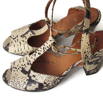 Vintage Snakeskin Shoes 9 Robert Clergerie Espace France