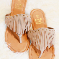 MOVING ON SANDALS IN TAUPE