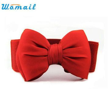 Amazing Fashion Women Belts Bowknot Elastic Wide Stretch Buckle Waistband Waist Belt