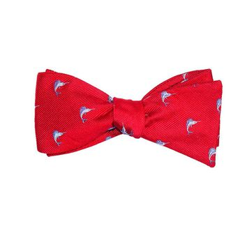 Marlin Bow Tie - Red, Woven Silk