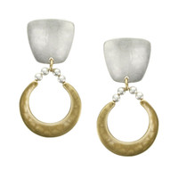 Marjorie Baer Clip On Earrings in Brass and Silver with Beads