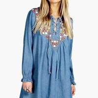 Boutique Laura Embroidered Denim Smock Dress