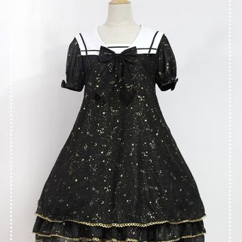Cute Casual Lolita Dress Sailor Collar Constellation Printed Short Sleeve Gold Stamped Chiffon Dress by Soufflesong