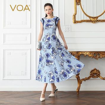 VOA Silk Stripe Swing Dress Women Maxi Long Dresses Plus Size 5XL Elegant Vintage Slim Blue Print Summer Short Sleeve A656