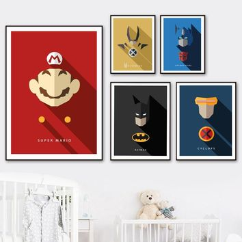 Superhero Mario Batman Wolverine Cyclops Wall Art Canvas Painting Nordic Posters And Prints Wall Pictures Boy Kids Room Decor