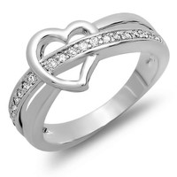 0.50 CT Platinum Plated Ladies Round Cut White Cubic Zirconia CZ Promise Ring (Available in size 6, 7, 8)