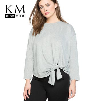 Kissmilk Plus Size New Fashion T-shirt O-Neck Solid Color tops Long Sleeve Women Casual Tie Simple For Lady T-shirts
