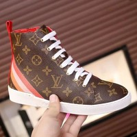 LV Louis Vuitton Fashion Women Personality Print High Top Shoes Sneakers Boots Coffee/Red I-ALS-XZ