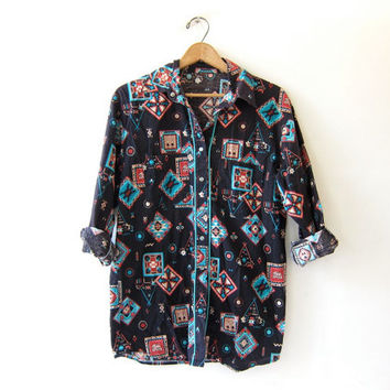 Vintage Southwestern western shirt. Native American tribal button down. Pearl snap shirt.