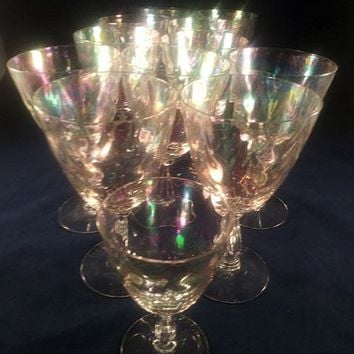 Fostoria Iridescent Shell Pearl Crystal Water Goblets