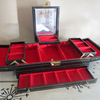 Black Jewelry Box Jewelry Chest Jewelry Storage Vanity Gift for Woman Asian Inspired Trinket Box