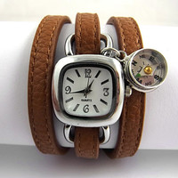 Compass Wrap Watch - silver wrist watch, genuine brown nappa leather with working compass charm.