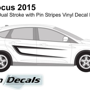 Ford Focus 2015 Connected Dual Stroke with Pin Stripes Vinyl Decal Kit