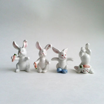 4 Fitz And Floyd Tumbling White Rabbits Bunnies Vintage Salt And Pepper Shakers Figurine MWT With Tag Label Japan 1978 1979 Easter Decor