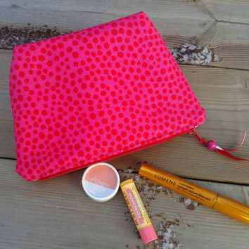 Marimekko Make up bag, Make up case, Zipper pouch, Fabric pouch,  Box purse, Cosmetic bag, Travel pouch, Make up purse, pink