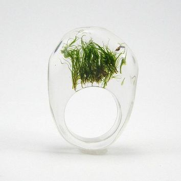 Moss Ring Unique Clear And Black Resin Ring With Natural Moss