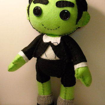 Felt Eddie Munster inspired custom plush stuffed rag doll toy The Munsters