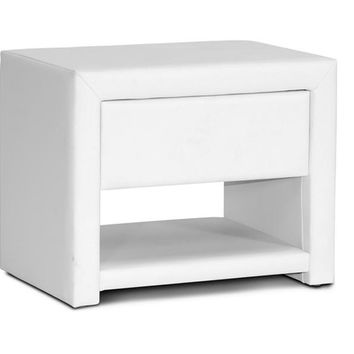 Baxton Studio Massey White Upholstered Modern Nightstand Set of 1