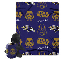 Baltimore Ravens NFL Star Wars Darth Vader Hugger & Fleece Blanket Throw Set