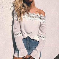 Long Sleeve Tops Hollow Out Shirt [11132270407]