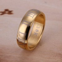DUMAN 18K Gold Plated Ring Nickel Free Fashion Jewelry Gold Roman Numerals Ring for Men Valentine's day, Christmas Gifts Size 8