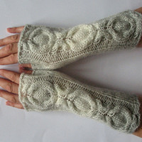 Gray Fingerless Gloves Knit Gloves Winter Gloves Off White Long Fingerless Gloves